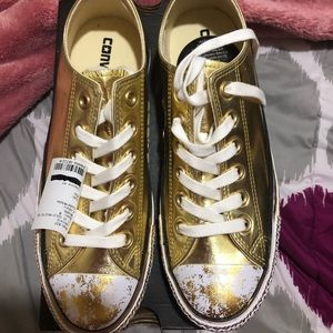Gold converse sneakers